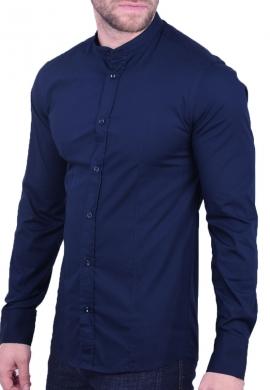 Ανδρικό Πουκάμισο mao collar μπλε