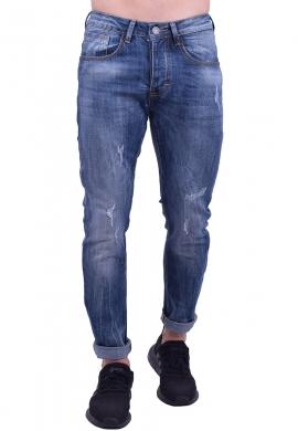 Παντελόνι τζιν με ξεβάμματα μπλε