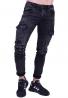 Παντελόνι τζιν  cargo biker μαύρο/γκρι