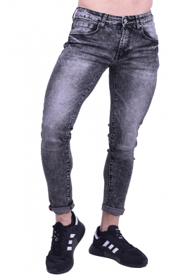 Παντελόνι τζιν πετροπλυμένο μαύρο ελαστικό slim