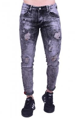 Παντελόνι τζιν πετροπλυμένο με σκισίματα γκρι