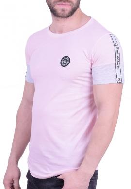 New Wave t-shirt με ρίγα ροζ
