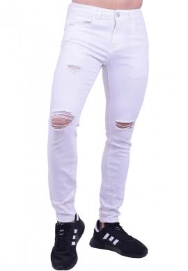 Παντελόνι τζιν με σκισίματα λευκό
