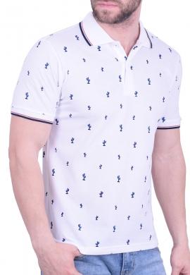 Πόλο Μπλούζα με κάκτους λευκή