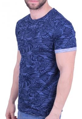 T-shirt με prints φύλλα μπλε