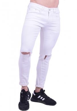 Παντελόνι τζιν slim λευκό