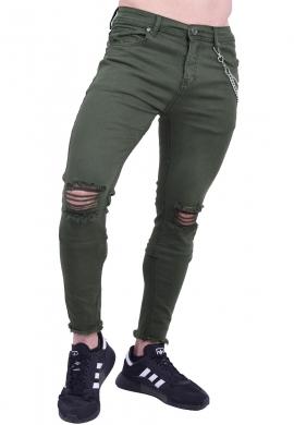 Παντελόνι τζιν με σκίσιμο ελαστικό χακί
