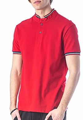 Paco & co Πόλο μπλούζα με γιακά mao κόκκινο