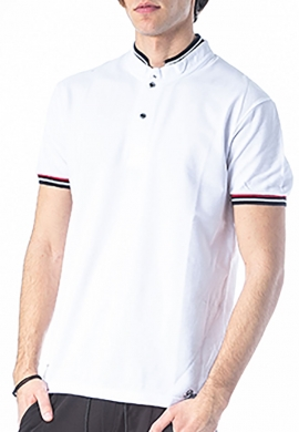 Paco & co Πόλο μπλούζα με γιακά mao λευκό