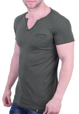 Paco & co t-Shirt με V χακί