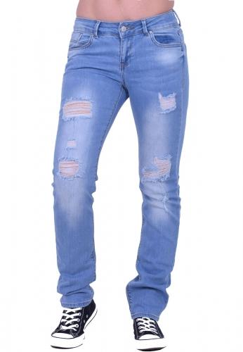 Παντελόνι τζιν straight με σκισίματα