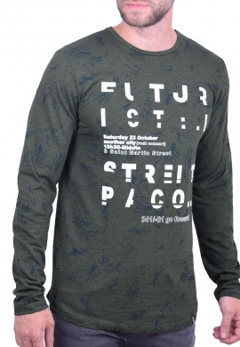 Paco & co Μπλούζα μακρυμάνικη 202552  με τύπωμα all over χακί