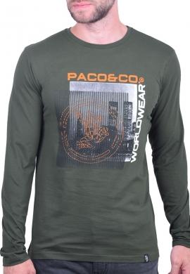 Paco & co Μπλούζα 202570 με τύπωμα χακί