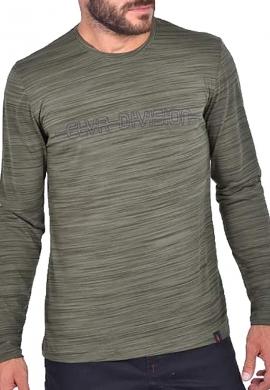 Clever μπλούζα 20290 μακρυμάνικη με τύπωμα χακί