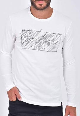 Clever μπλούζα 20270 μακρυμάνικη με τύπωμα λευκή