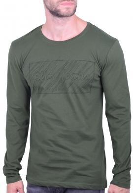 Clever μπλούζα 20270 μακρυμάνικη με τύπωμα χακί