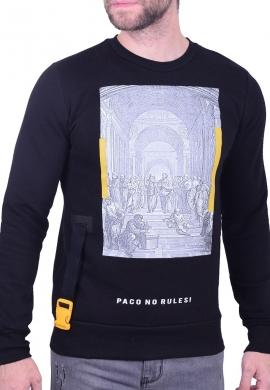 Paco & co Ανδρικό φούτερ 202533 κολεγιακό μαύρο