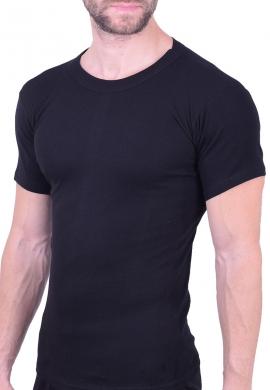 Ανδρική βαμβακερή κοντομάνικη φανέλα μαύρη