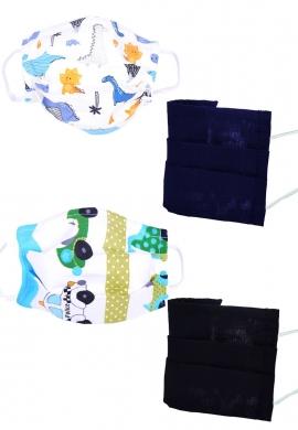 Σετ 4 Μάσκες υφασμάτινες παιδικές με σχέδια
