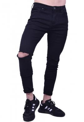 Ανδρικό παντελόνι ελαστικό με σκίσιμο στα γόνατα μαύρο