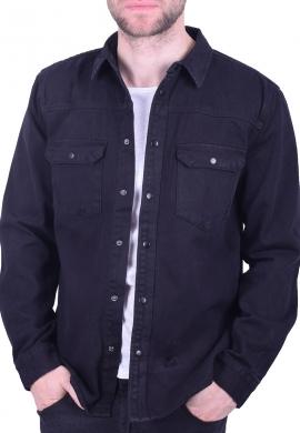 Τζιν overshirt με τσέπες μαύρο