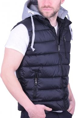 Αμάνικο γιλέκο με κουκούλα μαύρο