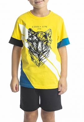 Joyce Σετ 211756 μπλούζα με τύπωμα και βερμούδα  2τμχ