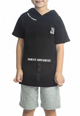 Joyce Σετ 211739 μπλούζα με κουκούλα και βερμούδα  2τμχ
