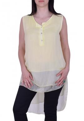 Μπλούζα Αμάνικη Με Κουμπάκια Κίτρινη