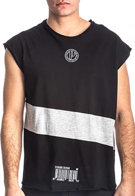 Αμάνικο t-shirt 213539 με τύπωμα μαύρο