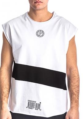 Αμάνικο t-shirt 213539 με τύπωμα λευκό