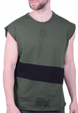 Αμάνικο t-shirt 213539 με τύπωμα χακί