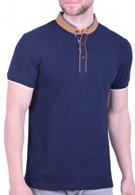 Πόλο μπλούζα με γιακά mao μπλε