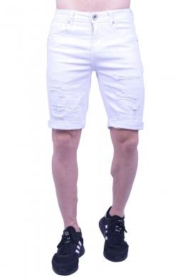 Βερμούδα τζιν λευκή με σκισίματα