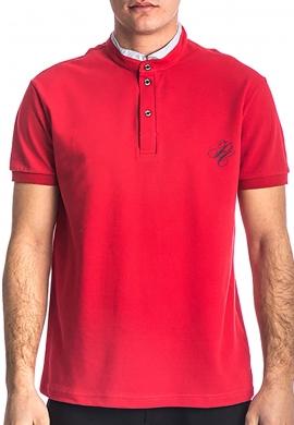 Paco & co 213609 Πόλο μπλούζα με γιακά mao κόκκινο