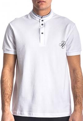 Paco & co 213609 Πόλο μπλούζα με γιακά mao λευκό