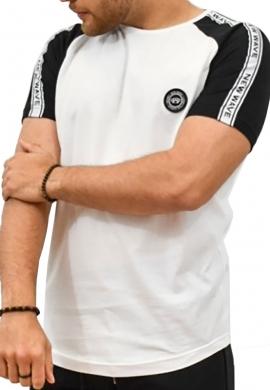 Ανδρικό  t-shirt  λευκό με ρίγα  new wave
