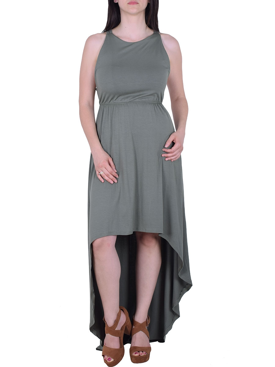 3d691ca10da4 Φόρεμα ασύμμετρο με ουρά χακί - Moda4u