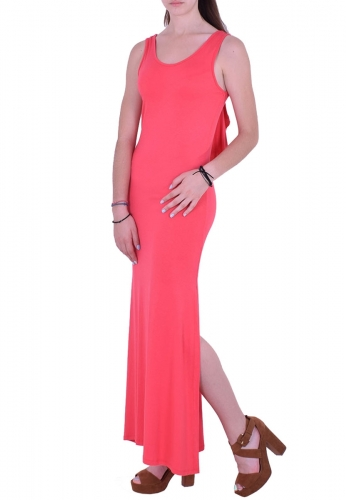 b9eb4c01aa4f Φόρεμα μακρύ αμάνικο κοραλί - Moda4u