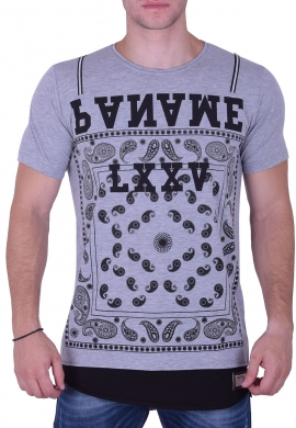 T-Shirt Paisley and Zips Grey