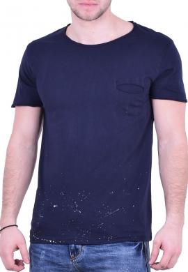 T-Shirt  με τσεπάκι σκούρο μπλε