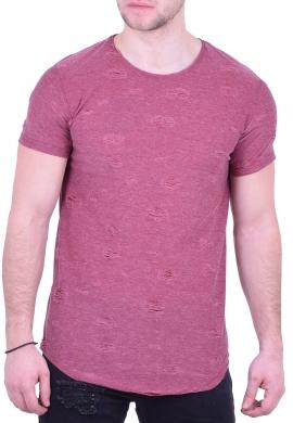 T-shirt μακρύ με φθορές φούξια