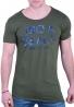 T-Shirt ασύμμετρο casual με τύπωμα λαδί