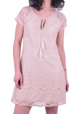 Φόρεμα κοντό με δαντέλα μπεζ