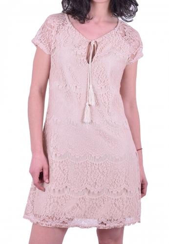 c0147f4f3c8c Φόρεμα κοντό με δαντέλα μπεζ - Moda4u
