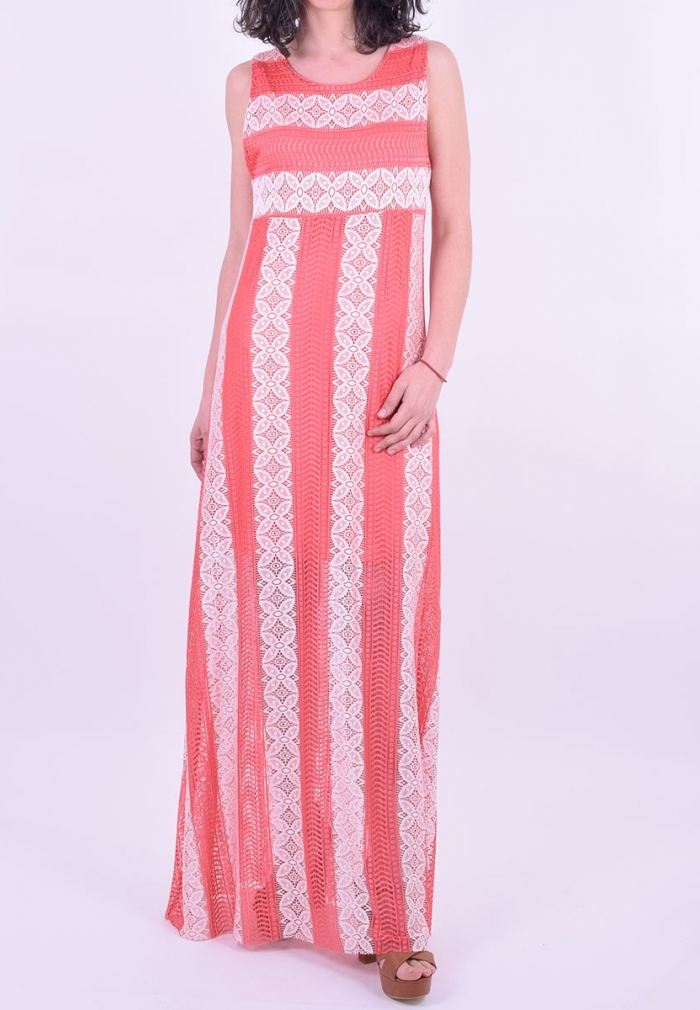 6c506ffd5816 Φόρεμα μακρύ αμάνικο με δαντέλα κοραλί - Moda4u