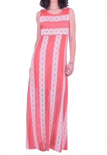 Φόρεμα μακρύ αμάνικο με δαντέλα κοραλί