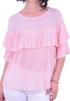 Μπλόυζα κοντομάνικη πλισέ ροζ