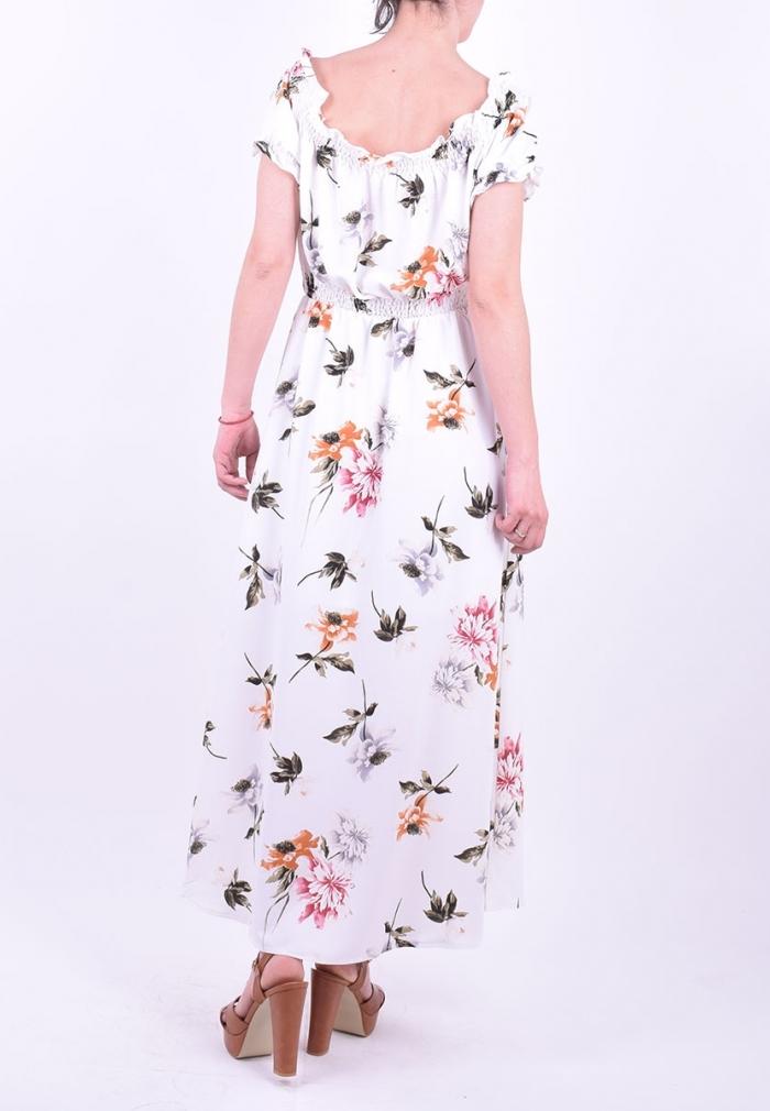 60488a7ab707 Φόρεμα maxi floral λευκό - Moda4u