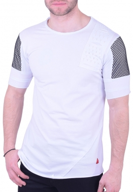 T-shirt μακρύ με σκισίματα λευκό